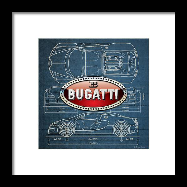 �wheels Of Fortune� By Serge Averbukh Framed Print featuring the photograph Bugatti 3 D Badge Over Bugatti Veyron Grand Sport Blueprint by Serge Averbukh