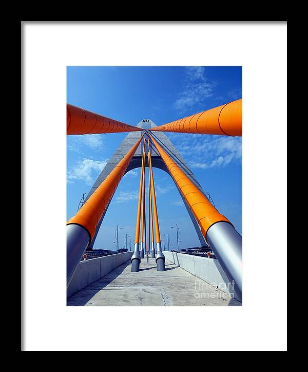 Bridge Framed Print featuring the photograph Cable Stayed Bridge With Orange Clad Cables by Yali Shi