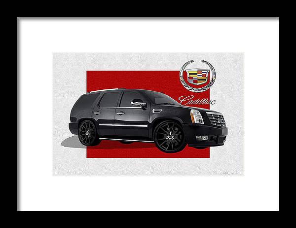 �cadillac� By Serge Averbukh Framed Print featuring the photograph Cadillac Escalade with 3 D Badge by Serge Averbukh