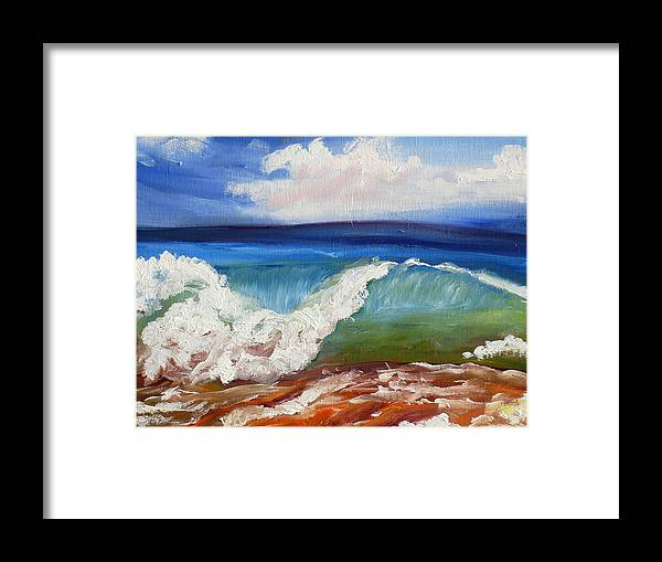 California Coast Framed Print featuring the painting California Seascape by Mary Jo Zorad