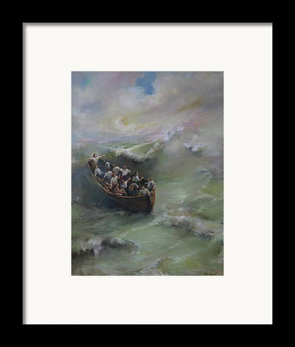Calming The Storm Framed Print featuring the painting Calming The Storm by Tigran Ghulyan