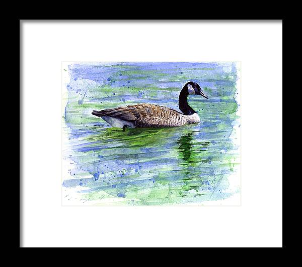 Bird Framed Print featuring the painting Canada Goose by John D Benson