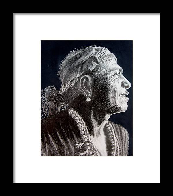 Indian Framed Print featuring the drawing Carl Moon by Stan Hamilton
