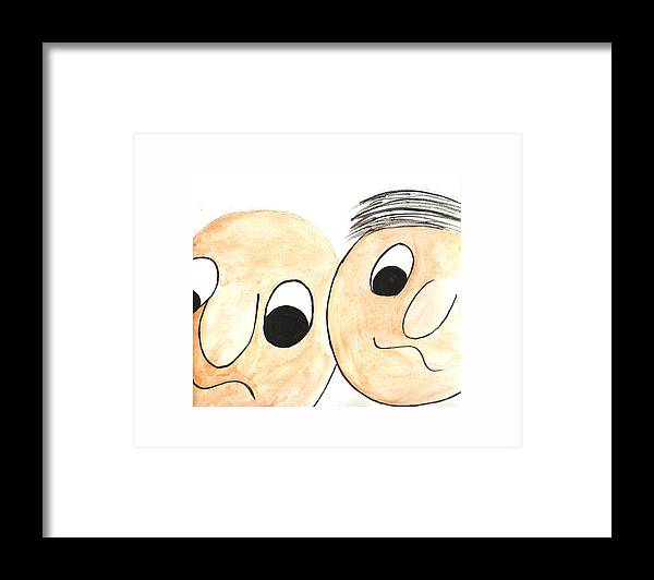 Abstract Framed Print featuring the painting Cartoon Faces by Hema Rana