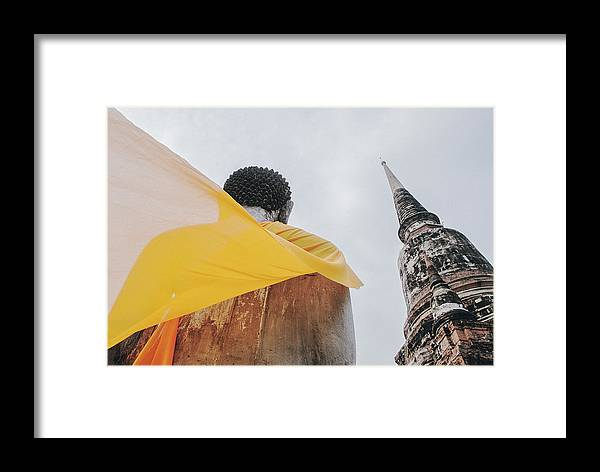 Ancient Framed Print featuring the photograph Carved Stone Buddha Statue Wat Temple Complex In Old Siam Kingdom, Ayutthaya, Thailand by Srdjan Kirtic