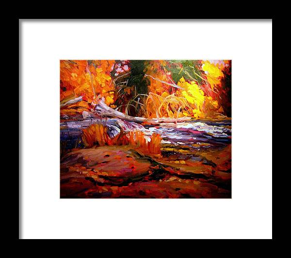 Landscape Paintings Framed Print featuring the painting Cascade by Brian Simons