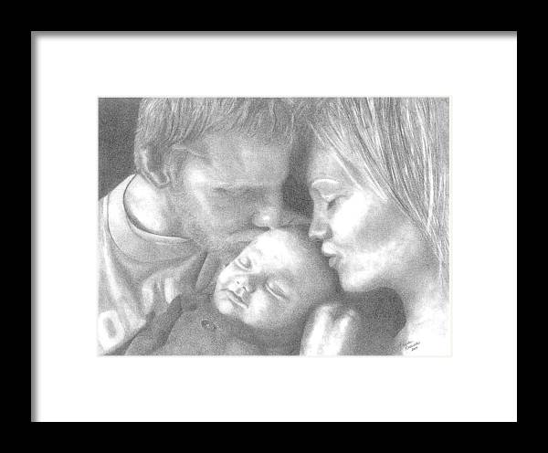 Graphite Framed Print featuring the drawing Cassiday Family 1 by Rhonda Rodericks