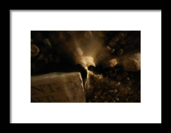 Framed Print featuring the photograph Catacombs Paris France by Jennifer McDuffie