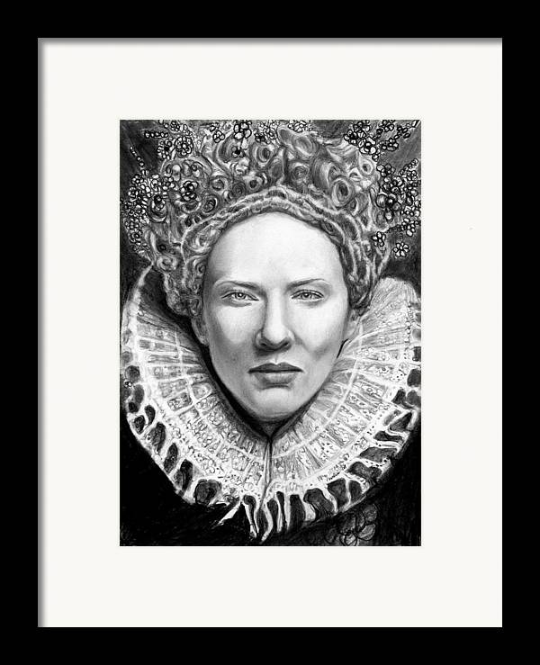 Queen Framed Print featuring the drawing Cate Blanchett As Queen Eliz. I by Carliss Mora