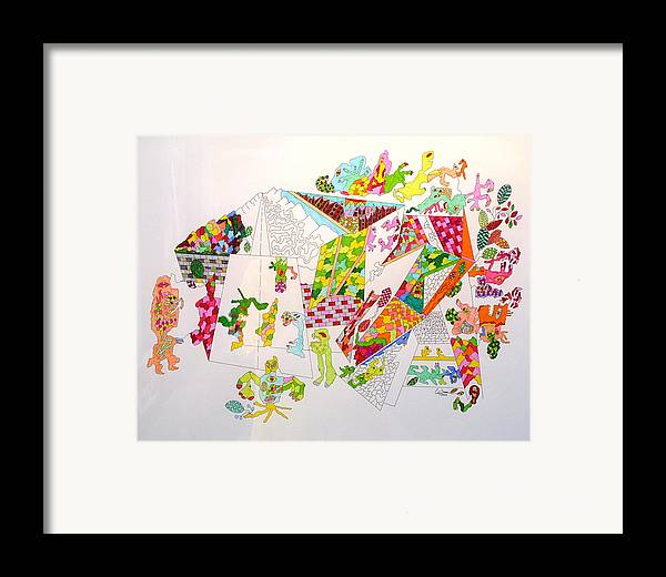 Park Framed Print featuring the drawing Central Park 2099 by Eric Devan