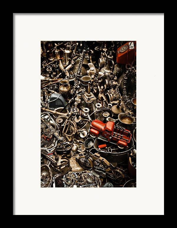 Old; Antique; Vintage; Retro; Background; Style; Art; Decor; Decorating; Decoration; Grunge; Antiquities; Object; Old-fashioned; Classic; Collection; Valuable; Junk; Together; Gathered; Car; Toy; Red; Brown; Chaos; Framed Print featuring the photograph Chaos by Gabriela Insuratelu