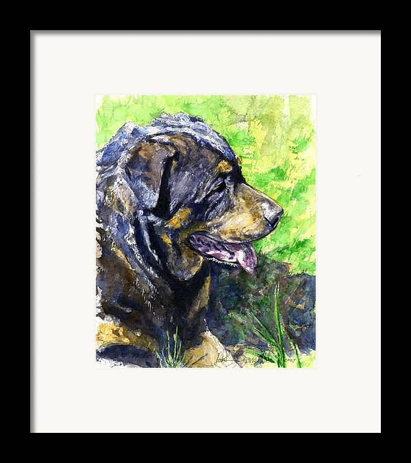 Rottweiler Framed Print featuring the painting Chaos by John D Benson