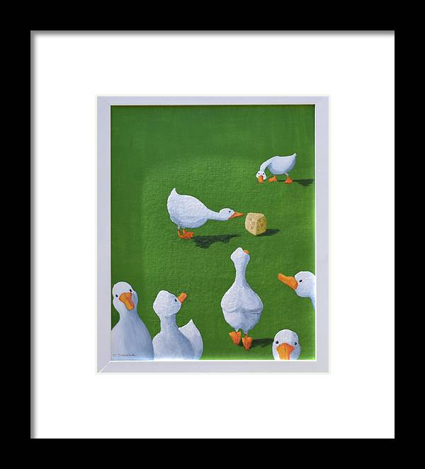 Ducks With Cheese Framed Print featuring the painting Cheese And Quackers by Sheryl Sutherland