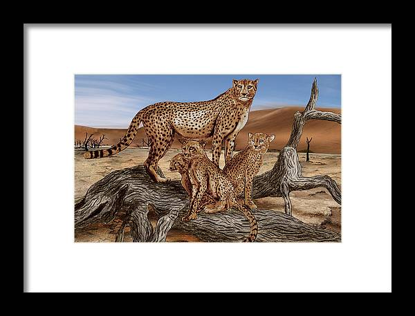 Cheetah Family Tree Framed Print featuring the drawing Cheetah Family Tree by Peter Piatt