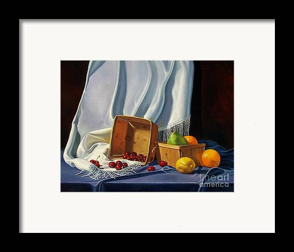 Still Life Framed Print featuring the painting Cherries On White by Arnold Hurley