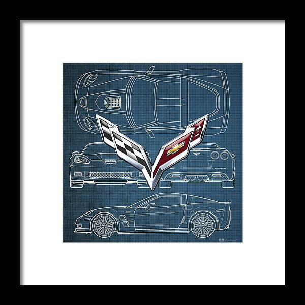 �wheels Of Fortune� By Serge Averbukh Framed Print featuring the photograph Chevrolet Corvette 3 D Badge over Corvette C 6 Z R 1 Blueprint by Serge Averbukh