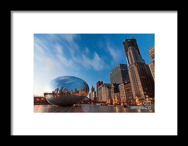 Chicago Skyline Framed Print featuring the photograph Chicago Skyline And Bean At Sunrise by Sven Brogren