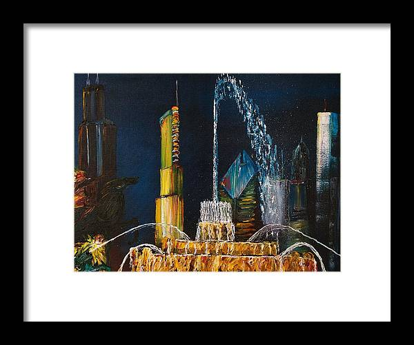 Chicago Tourism Framed Print featuring the painting Chicago Skyline Buckingham Fountain Sears Tower Trump Tower Aon Building by Oil Paintings Chicago By Gregory A Page