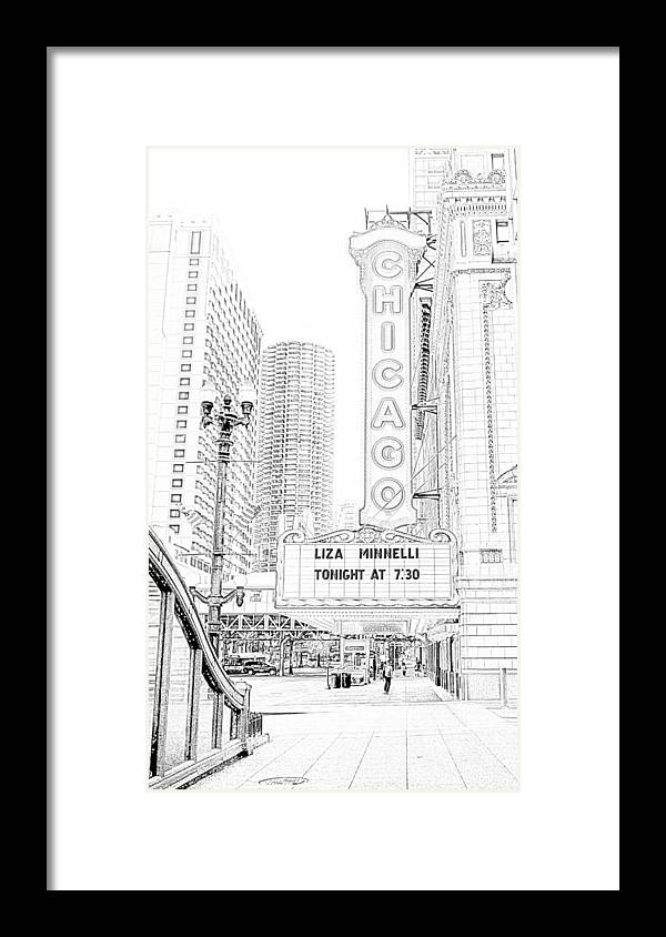 Chicago Theater Marquee Framed Print featuring the photograph Chicago Theater Marquee by Ely Arsha