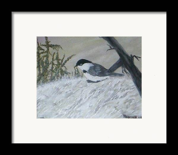 Chickadee Framed Print featuring the painting Chickadee by Rebecca Fitchett