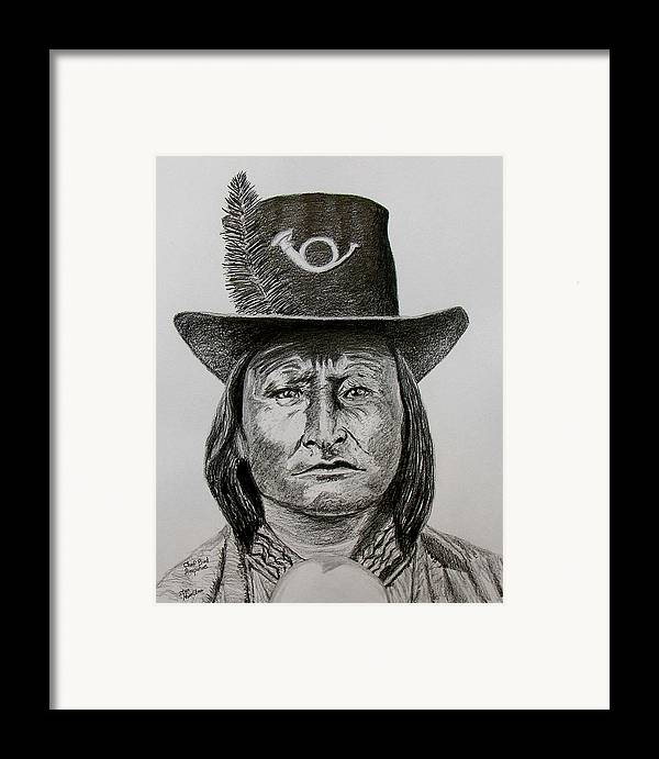 Portrait Framed Print featuring the drawing Chief Bird Arapahoe by Stan Hamilton