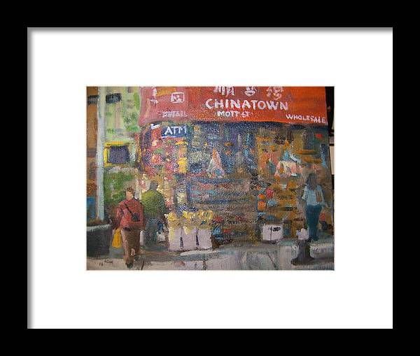 Store In Chinatown Ny Framed Print featuring the painting Chinatown by Bart DeCeglie