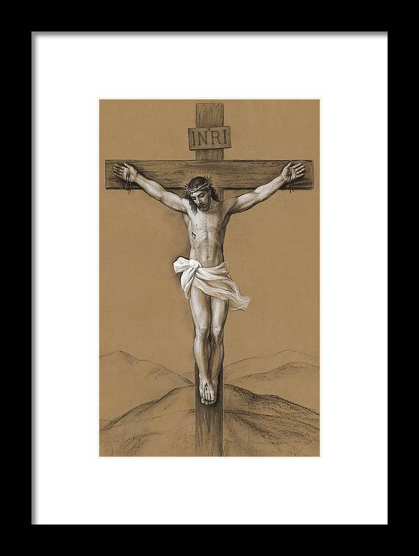 Christ Crucified Framed Print featuring the drawing Christ Crucified by Svitozar Nenyuk