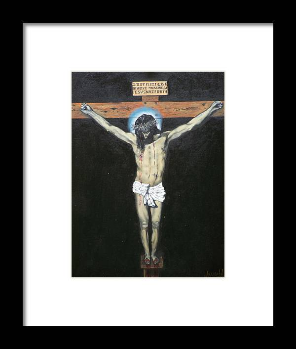 Jesus Framed Print featuring the painting Christ On The Cross by Charles Vaughn