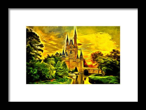 Administration Framed Print featuring the painting Cinderella Castle - Van Gogh Style by Leonardo Digenio