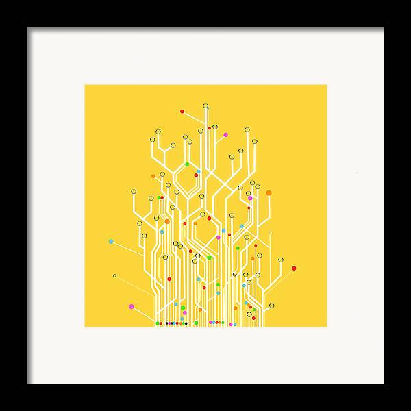 Abstract Framed Print featuring the photograph Circuit Board Graphic by Setsiri Silapasuwanchai