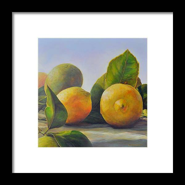 Acrylic Painting Framed Print featuring the painting Citrons by Muriel Dolemieux