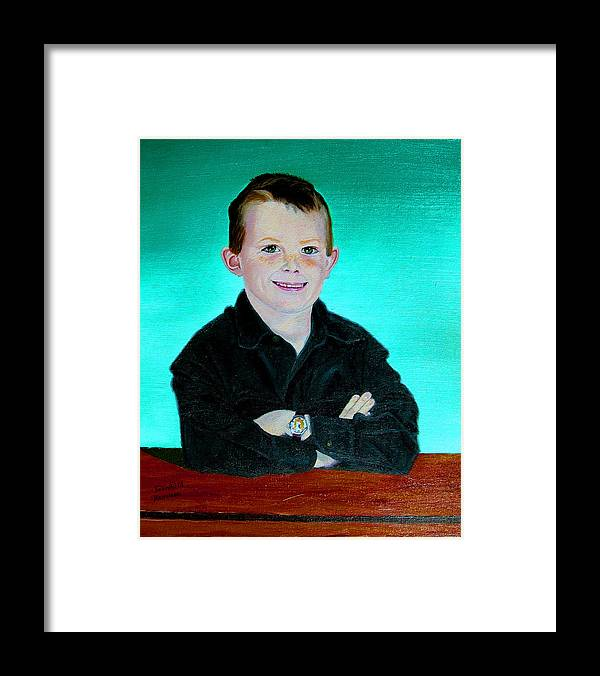 Child Portrait Framed Print featuring the painting CJ by Stan Hamilton
