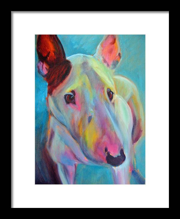 English Bull Terrier Portrait Framed Print featuring the painting Clem by Kaytee Esser