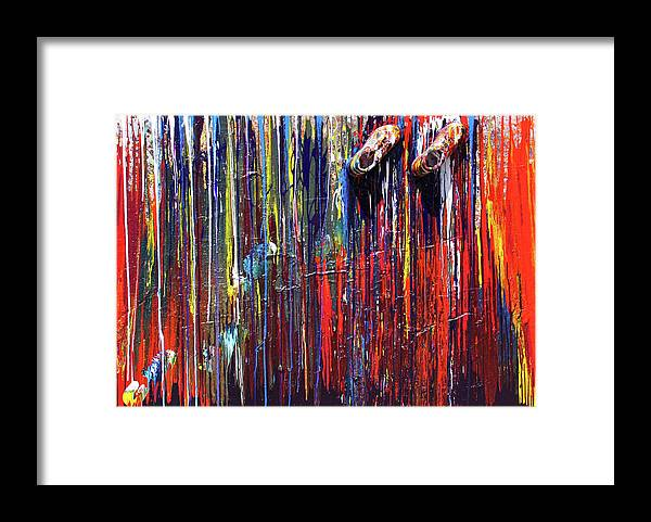 Fusionart Framed Print featuring the painting Climbing The Wall by Ralph White