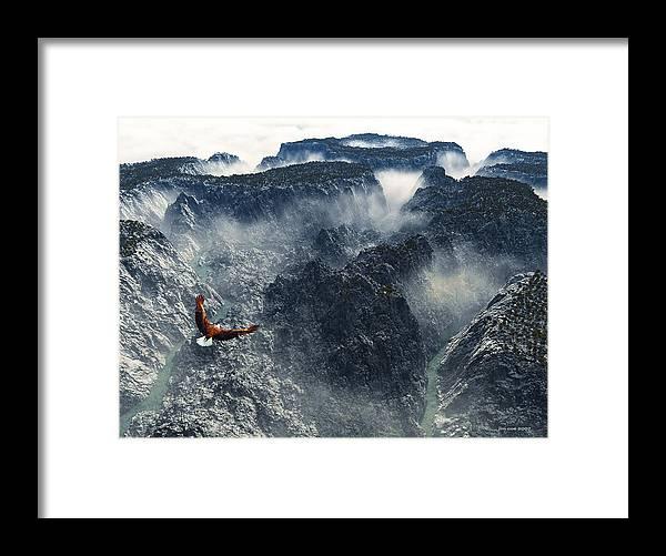 Jim Coe Framed Print featuring the digital art Cloud Canyon by Jim Coe