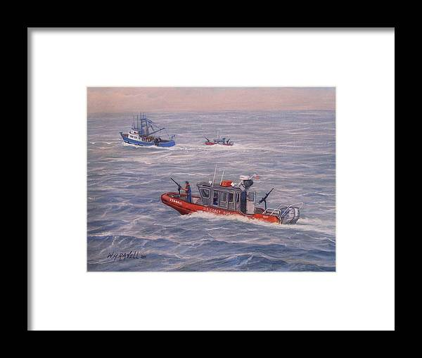 Boats Framed Print featuring the painting Coast Guard In Pursuit by William H RaVell III