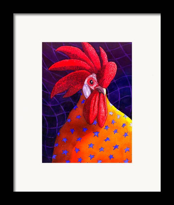 Rooster Framed Print featuring the painting Cock A Doodle Dude by Catherine G McElroy