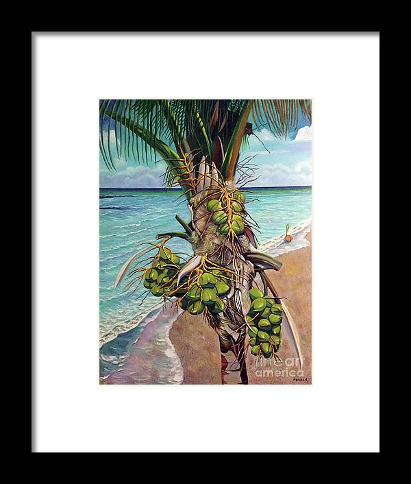 Coconuts Framed Print featuring the painting Coconuts on beach by Jose Manuel Abraham