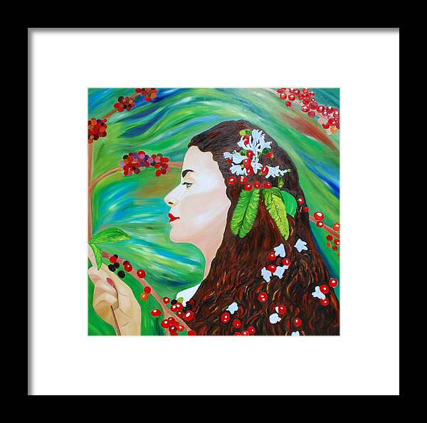 Woman With Branch Tree Of Coffee Framed Print featuring the painting Coffee Blossom by Dorota Nowak