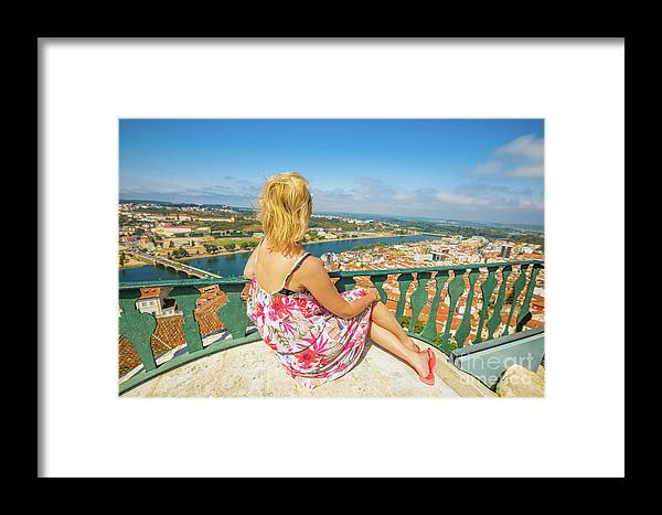 Coimbra Framed Print featuring the photograph Coimbra Cityscape Woman by Benny Marty