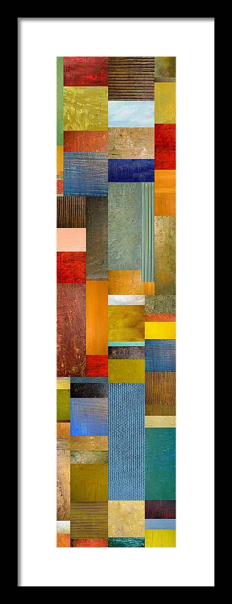 Skinny Framed Print featuring the painting Color Panels With Blue Sky by Michelle Calkins