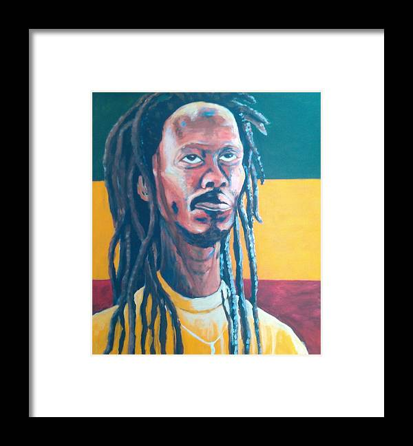 Rasta Portrait Framed Print featuring the painting ColorPS by Andrew Johnson