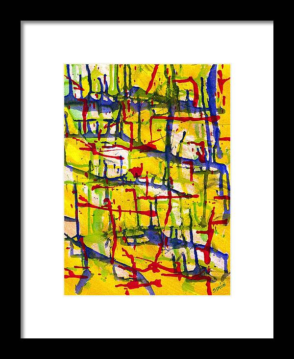 Abstract Framed Print featuring the painting Condominium by Lourdes SIMON