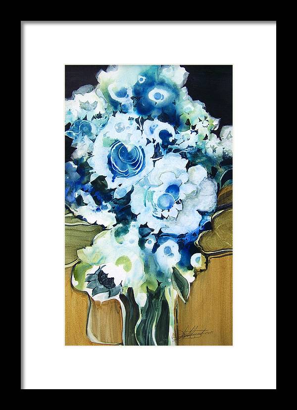 Contemporary;floral;flowers;abstract; Framed Print featuring the painting Contemporary Floral In Blue And White by Lois Mountz