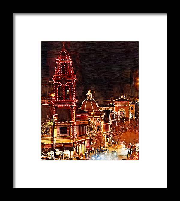 Country Club Plaza Lights Framed Print featuring the digital art Country Club Plaza Lights Kansas City Missouri by Joseph Ventura