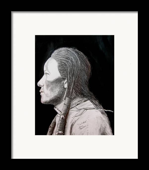 Indian Portrait Framed Print featuring the drawing Coutudle by Stan Hamilton