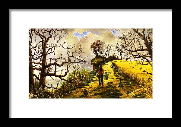 Suffolk Sea Coastal Path Corn East Anglia Landscape Framed Print featuring the painting Cove Hive Suffolk by Peter Rodulfo
