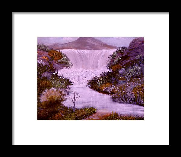 Landscape Water Fall Crags Framed Print featuring the painting Craggy Falls by Sandra Young Servis