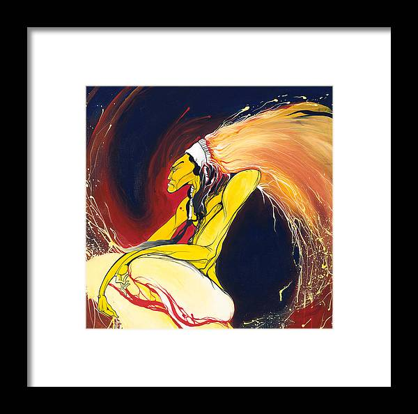 Chief Framed Print featuring the painting Crazy Horse by Dallas Poundmaker