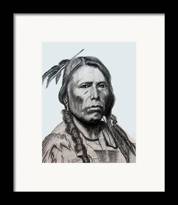Indian Portrait Framed Print featuring the drawing Crazy Horse by Stan Hamilton
